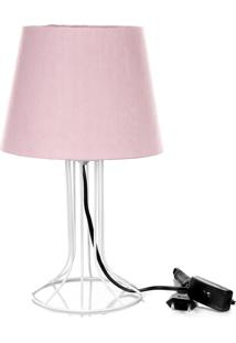 Abajur Torre Dome Rosa Com Aramado Branco - Rosa - Dafiti