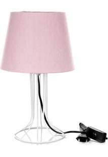 Abajur Torre Dome Rosa Com Aramado Branco