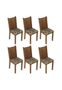Kit 6 Cadeiras 4290 Madesa - Rustic/Bege Marrom Marrom