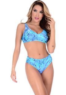 dbdbd68eb692 ... Biquíni Summer Soul Sem Bojo De Cós Alto Palmeira Azul