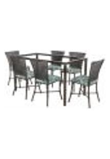 Jogo De Jantar 6 Cadeiras Turquia Tabaco A25 E 1 Mesa Retangular Sem Tampo Ideal Para Área Externa Coberta