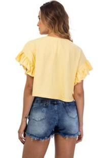 Blusa Dream Babado Feminina - Feminino-Amarelo