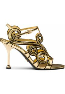 Prada Sandália Com Alça No Tornozelo - Dourado