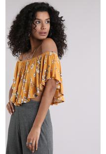 Blusa Feminina Ciganinha Cropped Estampada Floral Manga Curta Amarela