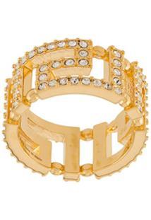 Versace Anel Greca Com Aplicações - Dourado