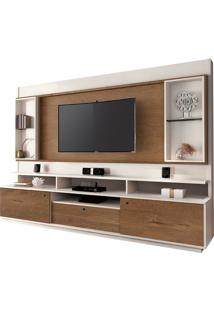 "Estante Home Para Tv Até 58"" Coliseu Off White/Naturale"