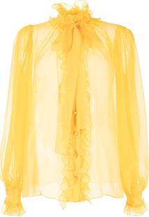 Dolce & Gabbana Ruffle-Trim Pussy-Bow Blouse - Amarelo