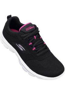 Tênis Skechers Go Walk Evolution Ultra Enhance Feminino - Feminino-Preto+Rosa
