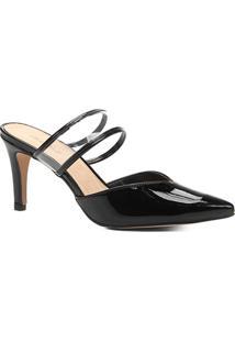 Scarpin Shoestock Salto Fino Vinil - Feminino-Preto