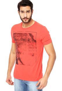 Camiseta Manga Curta Calvin Klein Jeans Estampa Vermelha
