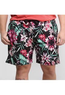 Short Gajang Floral Plus Size Masculina - Masculino-Preto