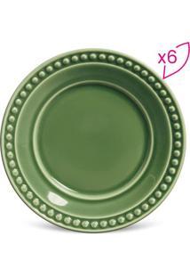 Jogo De Pratos Para Sobremesa Atenas- Verde- 6Pçs