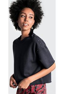 Blusa Cropped Em Malha De Algodão Com Aplicações