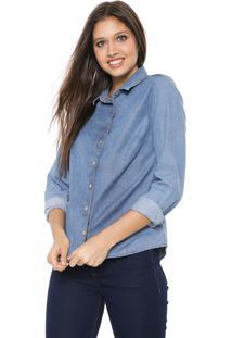 Camisa Jeans Hering Pespontos Azul