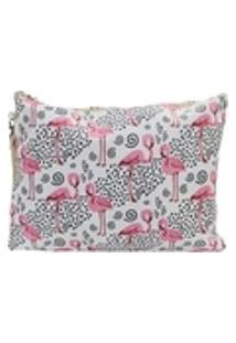 Necessaire Quadrada De Flamingo E Bolinhas - Branca