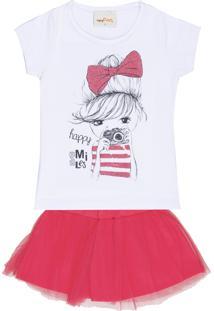Conjunto Infantil Mini Fan Blusa E Saia Smiles Branco E Rosa