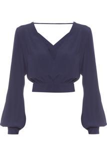 Blusa Feminina Decote Transpasse - Azul