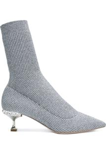 Miu Miu Lurex Knit Ankle Boots - Cinza