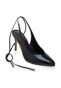 Sapato Morena Rosa Chanel Com Amarracao Preto