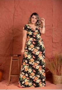 Vestido Transpassado Emily Floral Black Plus Size