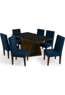 Conjunto Mesa Jasmim Com 6 Cadeiras Waln