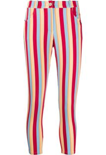 C'Est La V.It Striped Cropped Trousers - Vermelho