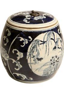 Vaso Decorativo De Porcelana Com Tampa Shriver