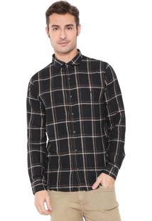 Camisa Acostamento Reta Quadriculada Preta/Laranja