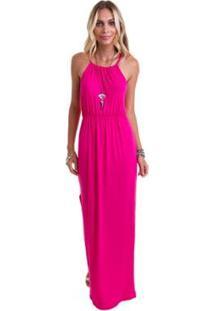 Vestido Manola Longo Alça Fina Com Fendas Laterais Feminino - Feminino-Rosa