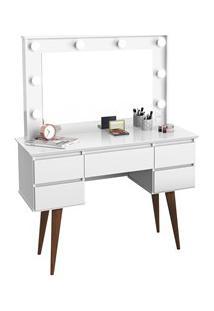 Penteadeira Com Espelho 5 Gavetas Pés Palito Camarim Strass Branco - P