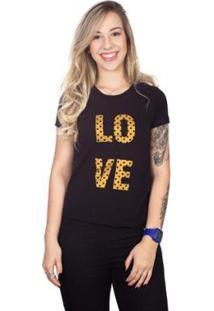 Camiseta 4 Ás Manga Curta Love Feminina - Feminino-Preto