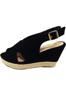 Sandalia Salto Elegance Anabela Preto - Kanui