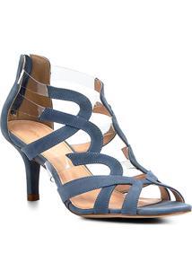 Sandália Shoestock Salto Médio Ondas Couro Com Vinyl - Feminino-Azul
