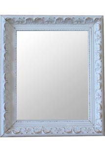 Espelho Moldura Rococó Raso 16281 Branco Patina Art Shop