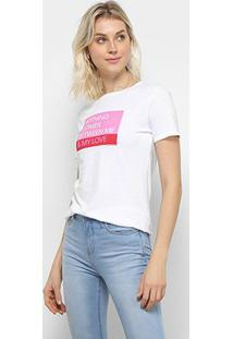 Camiseta Calvin Klein Ckj Mc Est Love Feminina - Feminino-Branco