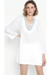 Blusa Devorê Com Amarração- Branca & Azul- Shirley Dshirley Dantas