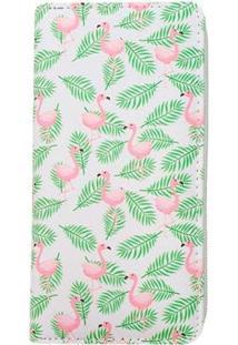 Carteira Glamour Estampada De Flamingos Feminina - Feminino-Branco