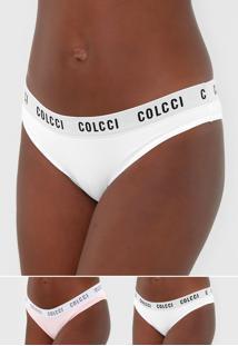 Kit 2Pã§S Calcinha Colcci Underwear Tanga Lettering Branco/Rosa - Branco - Feminino - Poliamida - Dafiti