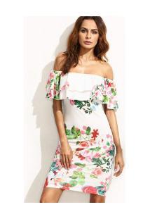 Vestido Curto Estampa De Flores - Branco