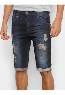 Bermuda Jeans Rock & Soda Destroyed Masculina - Masculino-Azul