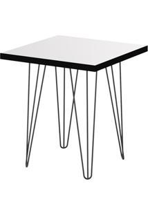 Mesa Lateral Glass Quadrada 47,5 Pé De Ferro Preto - Líder Design