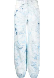 Off-White Calça Jeans Cenoura Com Efeito Manchado - Azul