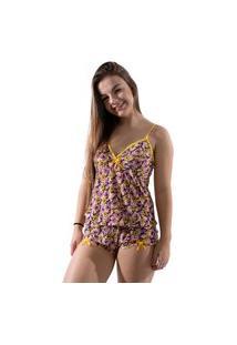 Baby Doll 4 Estações Pijama Liganete Curto Verão Variado Feminino Amarelo