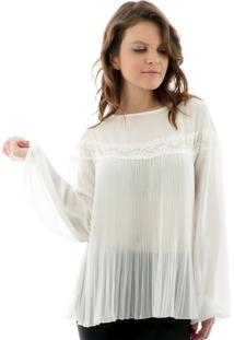 Blusa Plissada Com Renda Off- White