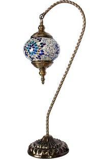 Abajur Curvo Com Mosaico Azul 55Cm