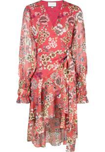 Alexis Vestido Envelope Com Estampa Floral - Vermelho