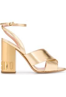 Moschino Sandália Com Logo No Salto - Dourado