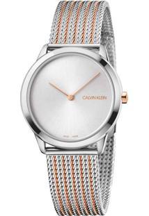 Relógio Calvin Klein Feminino Aço Prateado E Rosé - K3M22B26