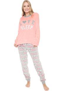 Pijama Any Any Love Sleep Pink/Cinza