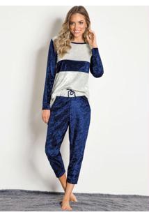 Pijama Manga Longa Azul Veludo